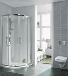 Shower cabin GEO 6 EASY without tray 80x80, semicircular